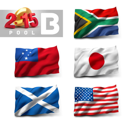 group b: Flags of International rugby competition. Qualifying pool B Stock Photo