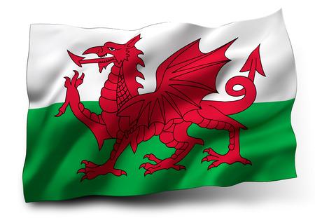 welsh flag: Sventola bandiera del Galles isolato su sfondo bianco Archivio Fotografico