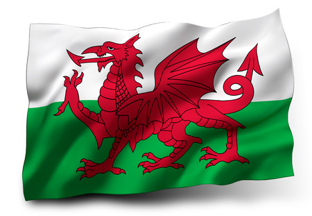 welsh: Waving flag of Wales isolated on white background