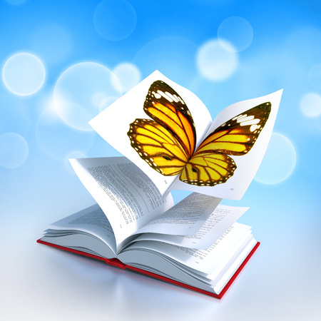 Red hardcover book open in its middle, as the wings of a butterfly