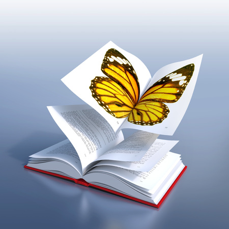 personal growth: Red hardcover book open in its middle, as the wings of a butterfly