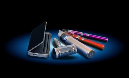 vaporized: Electronic vapor devices isolated on black