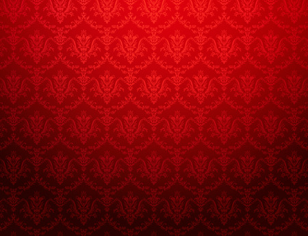 the red wall: Vintage red wallpaper with floral pattern