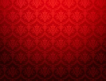 Vintage rode behang met bloemmotief