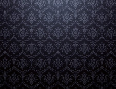 Black wallpaper with soft floral pattern