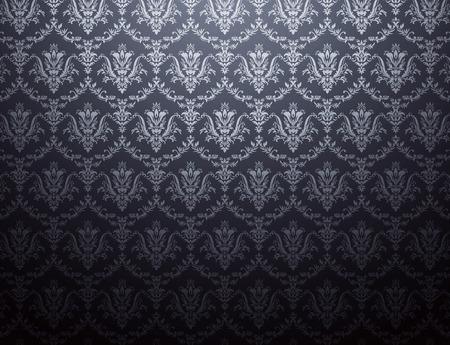 黒銀花柄壁紙