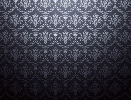 Black wallpaper with silver floral pattern