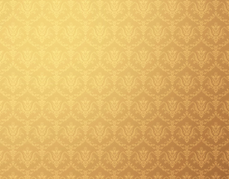 Golden wallpaper with soft floral pattern