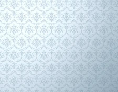 柔らかい花柄の銀の壁紙