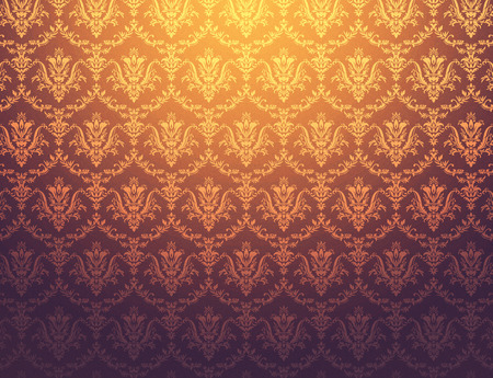 brownish: Brownish wallpaper with golden floral pattern Stock Photo