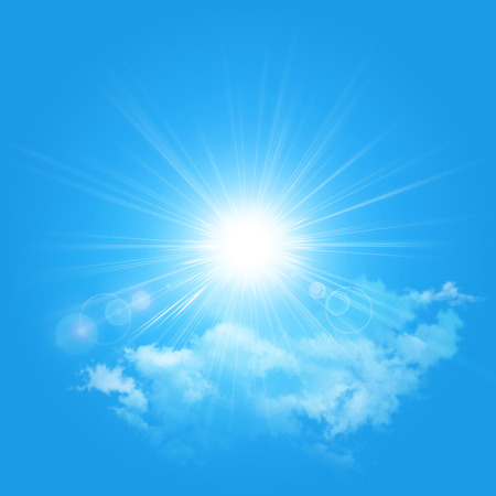 Illustration of the sun and cloud isolated on a blue background