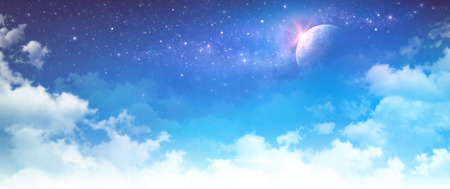 Imaginary cloudscape. High resolution cloudy sky background. Star field and planet in deep space.