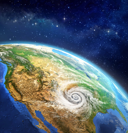 disturbance: Hurricane over the Earth. Very high definition picture of planet earth in outer space with a cyclone on USA soil. Elements of this image furnished by NASA