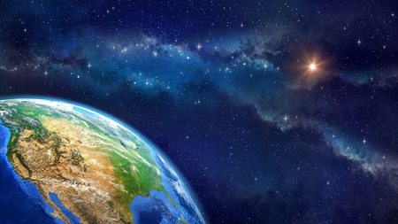 Face of the Earth. Very high definition picture of planet earth in outer space. Elements of this image furnished by NASA