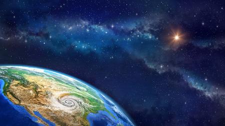 地球上のハリケーン。アメリカの土壌でサイクロンに宇宙で地球の非常に高精細画像。NASA から提供されたこのイメージの要素