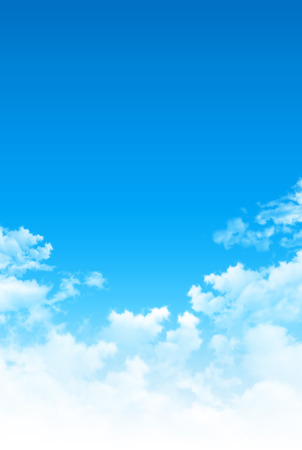 White clouds in early blue sky background