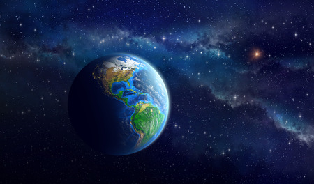 south space: Very high definition picture of the Earth in outer space. View of American continent. Elements of this image furnished by NASA