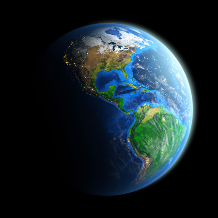 Detailed picture of the Earth, view of American continent. Elements of this image furnished by NASA