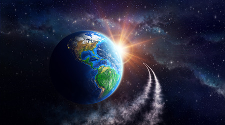 south space: Illuminated face of the Earth in outer space, celestial body in orbit. View of American continent. Elements of this image furnished by NASA