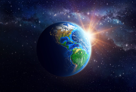 Illuminated face of the Earth in space. Detailed view of American continent. Elements of this image furnished by NASA Stock Photo