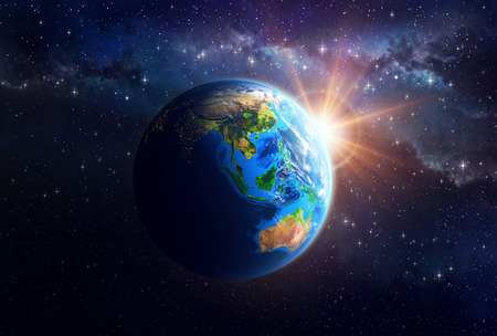 Illuminated face of the Earth in space. Detailed view of Asian and Australian continent. Elements of this image furnished by NASA