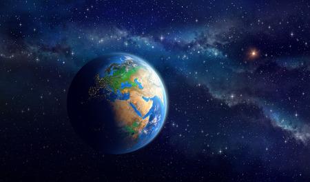 宇宙空間で地球の非常に高精細画像。ヨーロッパ、アフリカ、アジア大陸のビュー。このイメージの NASA によって家具の要素