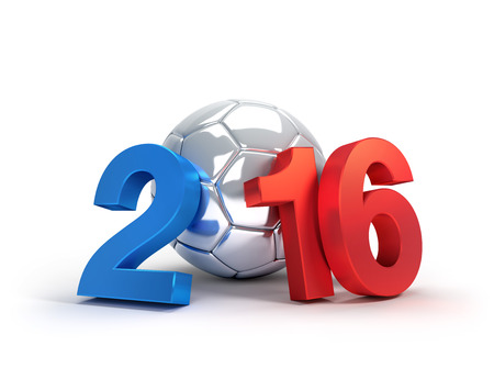 finalist: 2016 year illustrated with a silver soccer ball, isolated on white