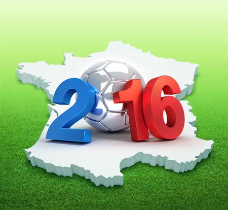 campeonato de futbol: 2016 a�os ilustrado con un bal�n de f�tbol de plata, en el mapa franc�s y campo de hierba