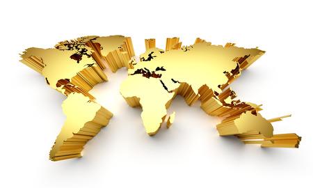 Gold world map with raised edges isolated on white Stock Photo