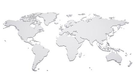 白で隔離縁の隆起した空の世界地図 写真素材