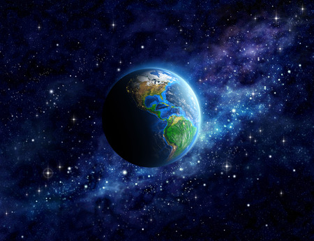 Imaginary view of planet Earth into deep space, focused on America. Elements of this image furnished by  Stock Photo