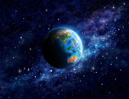 Imaginary view of planet Earth into deep space, focused on Asia and Australia. Elements of this image furnished