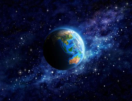 Denkbeeldige weergave van de planeet Aarde in de diepe ruimte, gericht op Azië en Australië. Elementen van deze afbeelding geleverd
