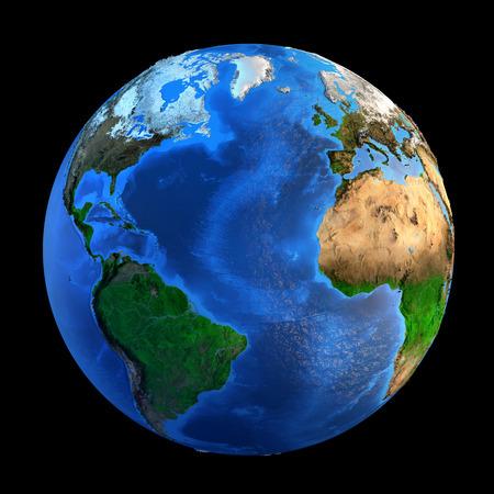 地球および黒に分離、その地形の詳細図。この画像の家具の要素