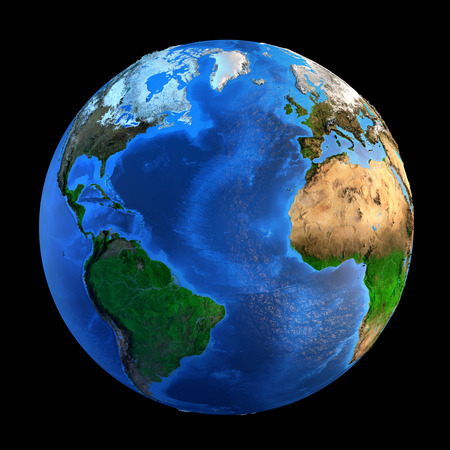 planet earth: Detailed picture of the Earth and its landforms, isolated on black. Elements of this image furnished  Stock Photo