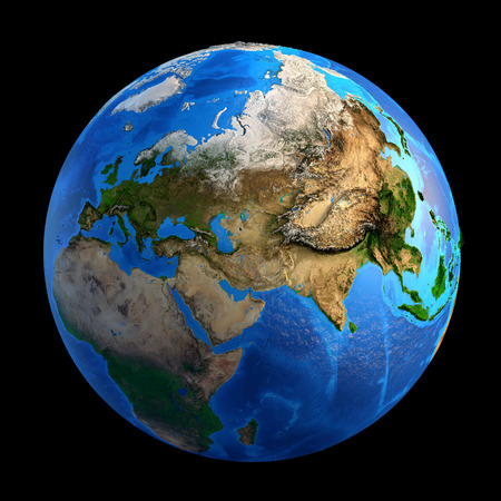 Detailed picture of the Earth and its landforms, isolated on black. Elements of this image furnished