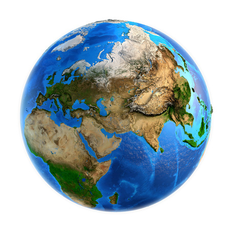 Detailed picture of the Earth and its landforms, isolated on white. Elements of this image furnished  免版税图像