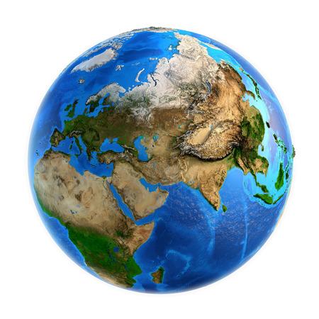 wereldbol: Gedetailleerd beeld van de aarde en haar landvormen, geïsoleerd op wit. Elementen van deze afbeelding geleverd