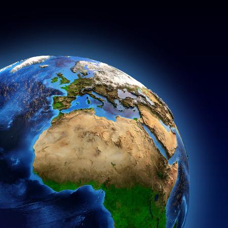 地球とその地形の詳細図、ヨーロッパ、アフリカとアジアの大陸の表示。この画像の家具の要素 写真素材