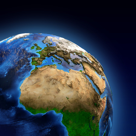 satellite view: Detailed picture of the Earth and its landforms, view of European, African and Asian continent. Elements of this image furnished