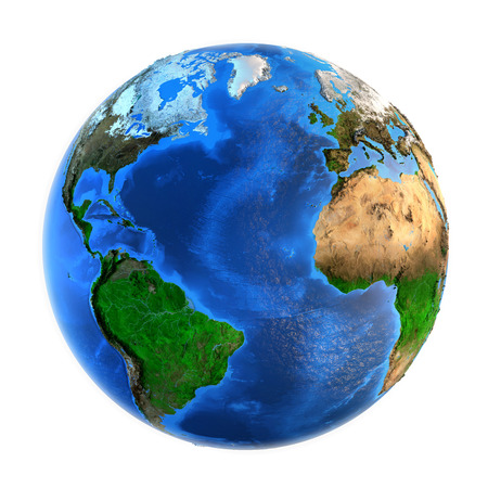 world globe map: Detailed picture of the Earth and its landforms, isolated on white. Elements of this image furnished  Stock Photo