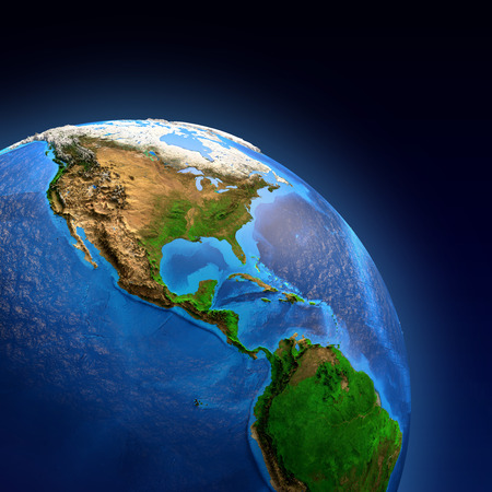 landforms: Detailed picture of the Earth and its landforms, view of American continent. Elements of this image furnished