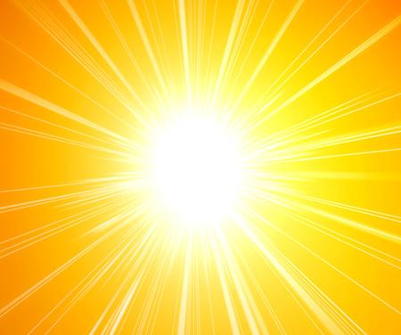 黄色の背景に日光の光線 写真素材