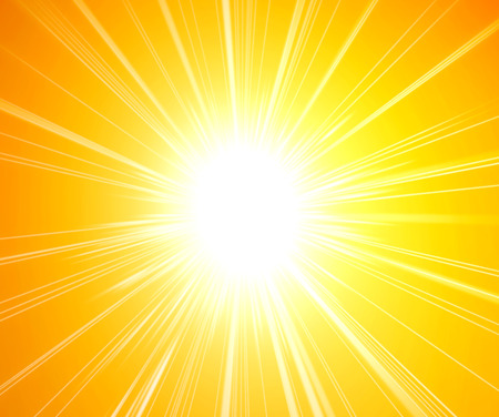 Rays of sunlight on yellow background