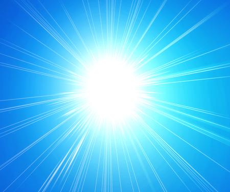sol radiante: Los rayos de la luz del sol sobre fondo azul Foto de archivo