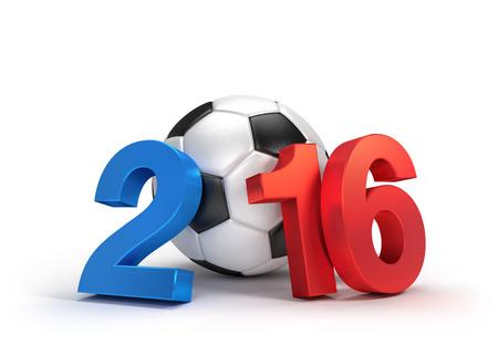 soccer: 2016 a�os ilustrado con un bal�n de f�tbol cl�sico, bandera francesa de color, aislado en blanco