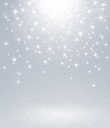 雨が降ってスターライトで光沢のある銀色の背景