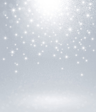Shiny silver background with starlight raining down