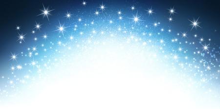 爆発的な星明かりに光沢のある青色の背景