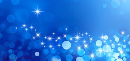 星の光と輝きの光沢のある青い背景